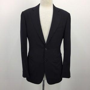 Canali Solid Black Wool Single Breasted Blazer